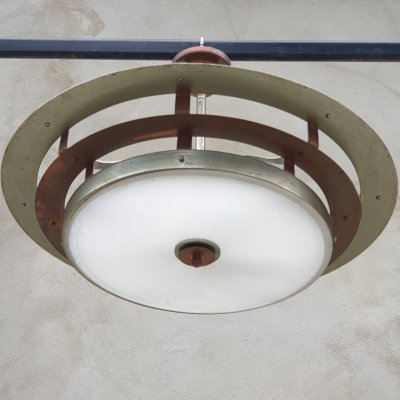 Art Deco Italian ceiling lamp in nickel-plated copper & glass