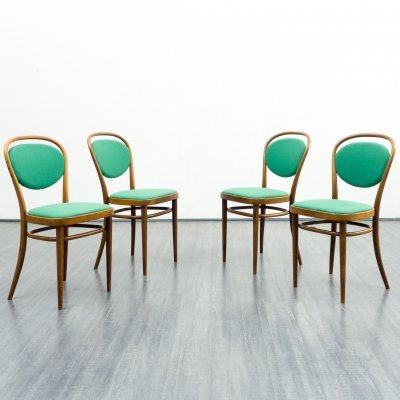 Set of 4 Thonet model 215 P coffee house chairs, 1950s