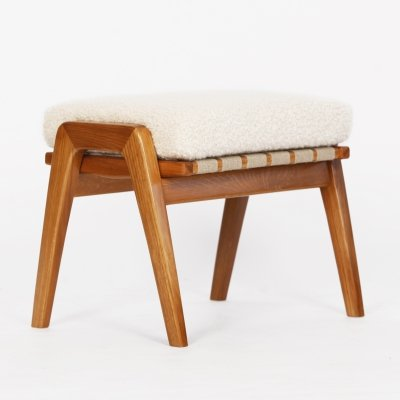 Mid Century Bench / Footstool with Alpaca, 1960s