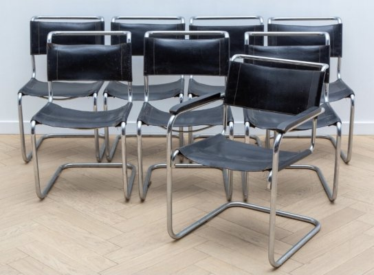 Set of 8 'B33 & B34' dining chairs by Marcel Breuer for Thonet, 1970s
