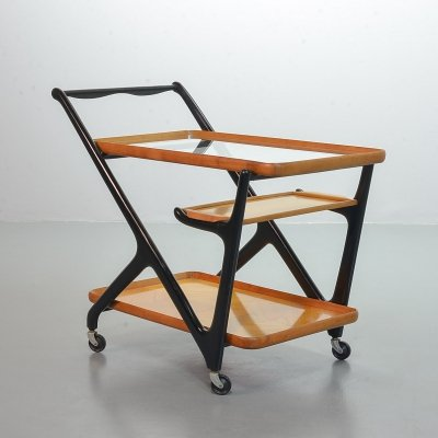 Cesare Lacca mobile tea trolley with serving tray for Cassina, Italy 1960s