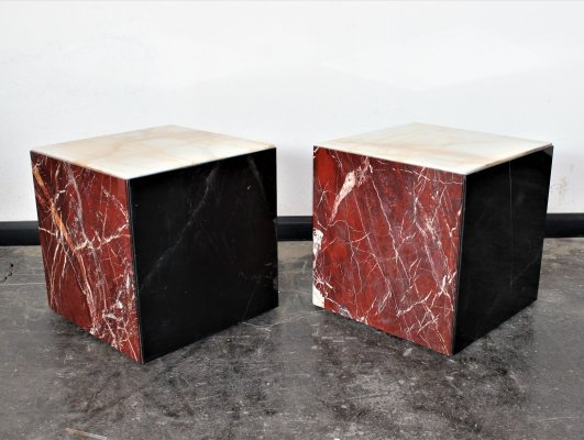 Italian multicolored (Nero Marquinia, Giallo Siena, Diaspro) marble set of cube tables on wheels, 1980's