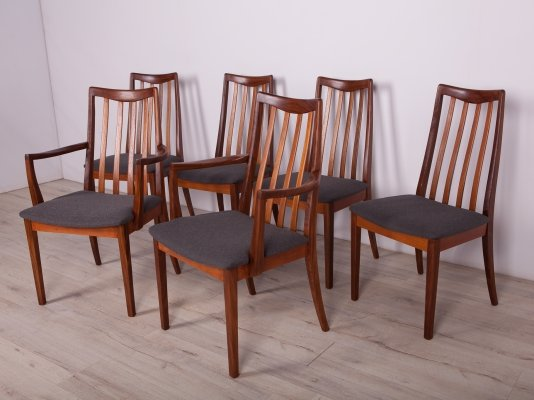 Set of 6 Mid-Century Teak & Leather Dining Chairs by Leslie Dandy for G-Plan, 1960s