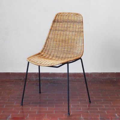 Basket dining chair by Franco Campo & Carlo Graffi for Home Torino, 1950s