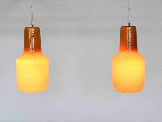 Massimo Vignelli pair of pendant lamps by Venini, Italy 1960