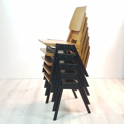 Mid century industrial stacking chairs in wood & plywood, 1950s