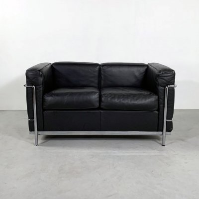 Black LC2 2-seater Sofa by Le Corbusier for Cassina, 1970s