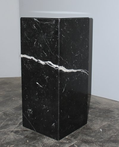 Italian black Nero Marquina marble side table, 1980's