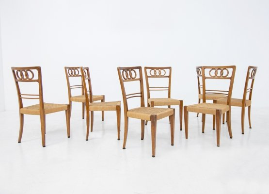 Set of 8 chairs by Paolo Buffa in walnut wood & straw, 1950s