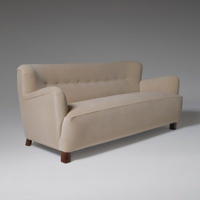 Danish Cabinetmakers sofa in Soft Beige Velvet, 1940s