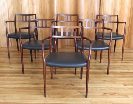 Set of 6 Niels O Moller rosewood model 64 armchairs by JL Mollers Mobelfabrik