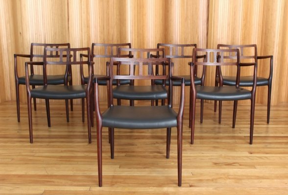 Set of 8 Niels O Moller rosewood model 64 armchairs by JL Mollers Mobelfabrik