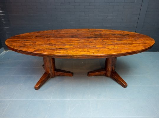 Oval vintage dining table with double base
