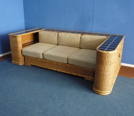 German Art Deco Rattan & Bamboo Sofa from Arco, 1940s
