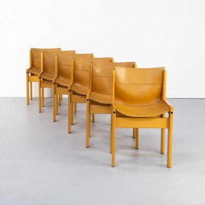 Set of 6 wooden framed saddle leather chairs by Ibisco, 1970s