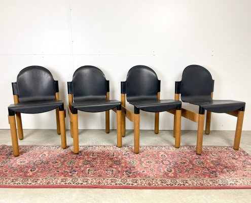 4 black coloured Thonet Flex chairs by Gerd Lange