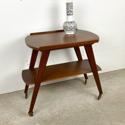 Teak Side table with wheels, 1960s