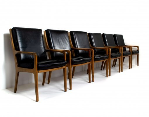 Set of 6 Eugen Schmidt High-Back Conference Chairs in Leather & Wood