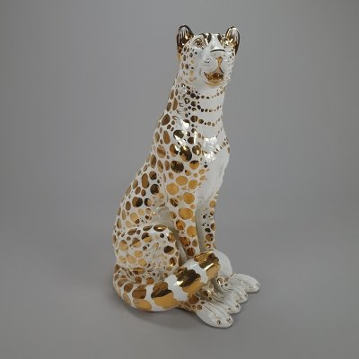Hollywood Regency Style White & 24 carat gold Leopard, 1970s