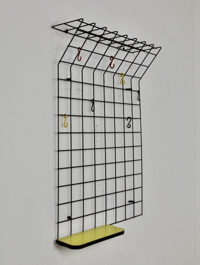 Black String Coat Rack by Karl Fichtel for Drahtwerke Erlau, 1950s