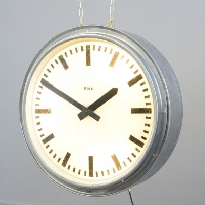 Double Sided Station Clock by Burke, Circa 1950s