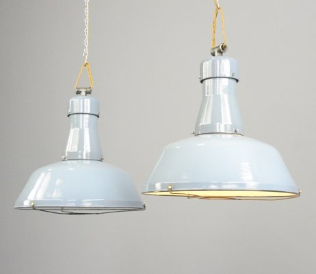 Grey Enamel Factory Lights by Beseg, Circa 1940s