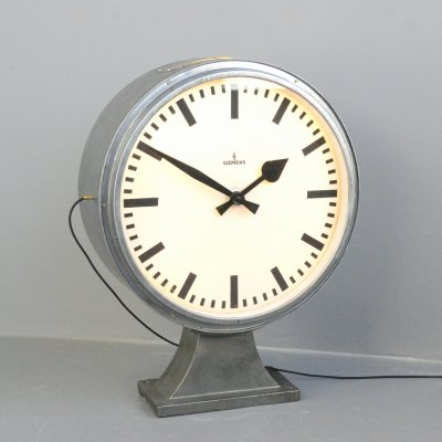 Large Industrial Siemens Light Up Clock, Circa 1930s