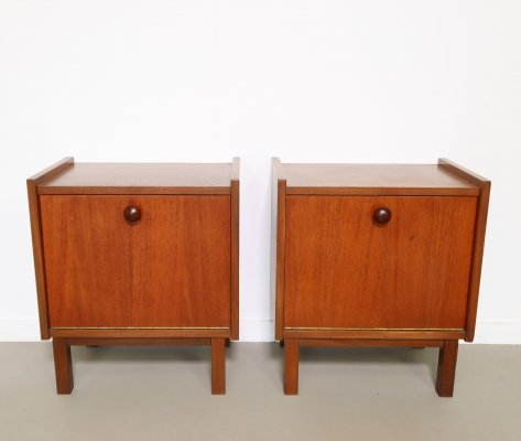 Teak bedside tables, 1960s