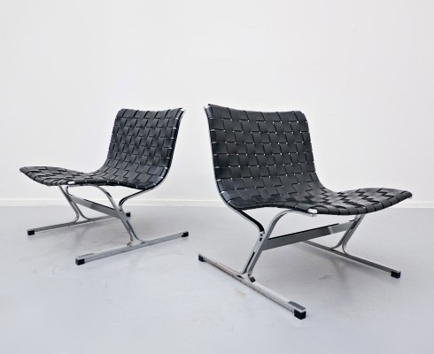 Pair of Italian Lounge Chairs by Ross Littell for ICF, 1970s