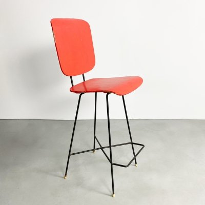 Dutch Plywood Drafting / Bar Stool by P.J Van Der Klugt for Everest, 1957