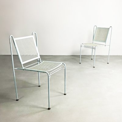 Pair of Mid Century Perforated Steel Stacking Chairs