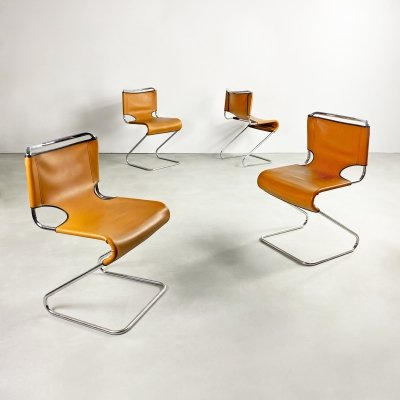 Set of 4 Leather & Chrome 'Biscia' Chairs by Pascal Mourgue, France c.1960