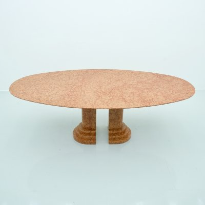 Large Oval Dining Table in Rosso Asagio Marble, Italy 1980s