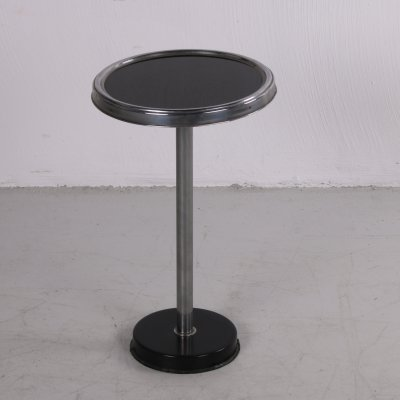 Black Art Deco side table with metal frame