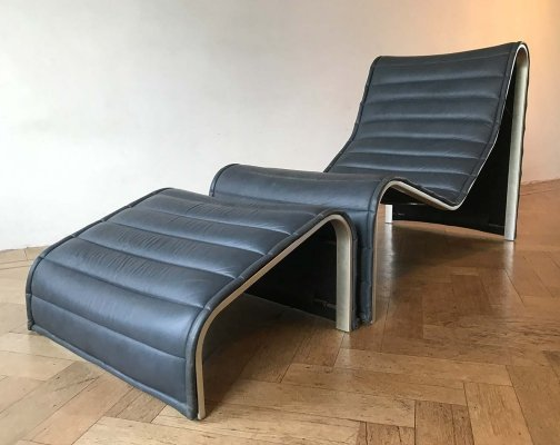 Minimalist lounge chair with ottoman by Eric Sigfrid Persson for Mobelkultur AB, 1972