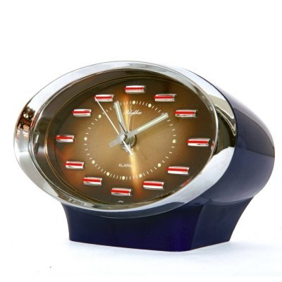 Navy blue Space Age Plastic & Chrome Japanese alarm clock by Rhythm, 1970s