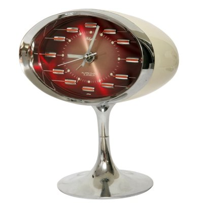 Red Space Age Plastic & Chrome Japanese alarm clock by Rhythm, 1970s