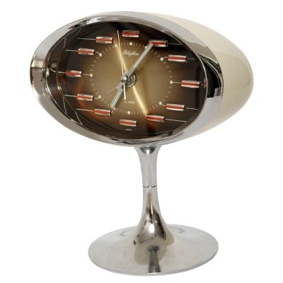 Japanese Space Age Plastic & Chrome alarm clock by Rhythm, 1970s