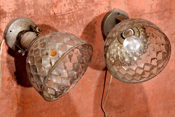 Vintage Antique Mirrored Mercury Glass Industrial Wall Lamps, 1920s
