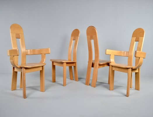 Set of 4 vintage oak brutalist dining chairs by De Puydt, 1980s