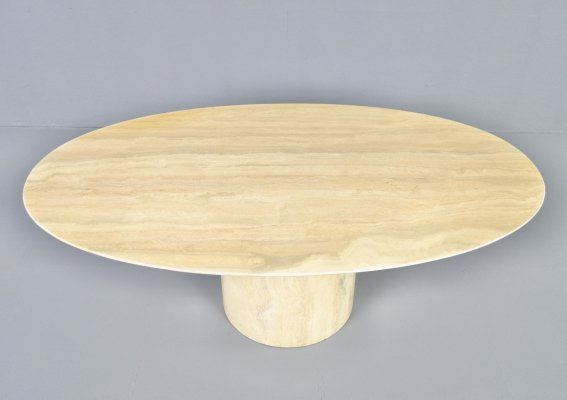 Vintage travertine coffee table with bevelled edge & cylindrical base, 1980s