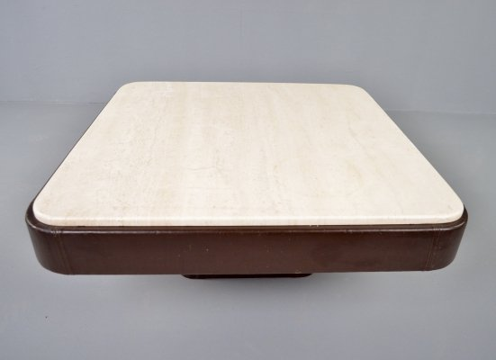 Vintage leather & travertine coffee table by De Sede, 1970s
