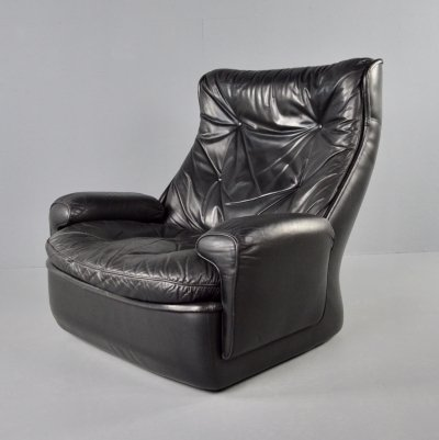 Airborne black leather lounge chair by Michel Cadestin, 1970s