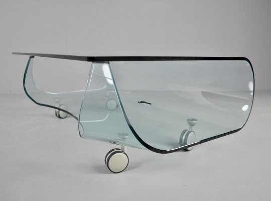 Vintage Fiam side table/TV stand in crystal glass, 1990s