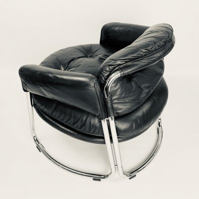 Pair of club chairs in black leather & steel, 1960's