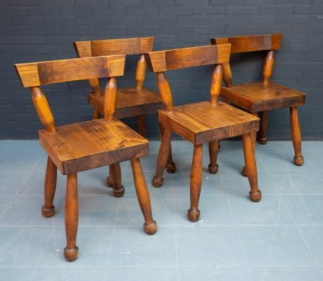Set of 4 heavy Brutalist chairs, the Netherlands 1960s