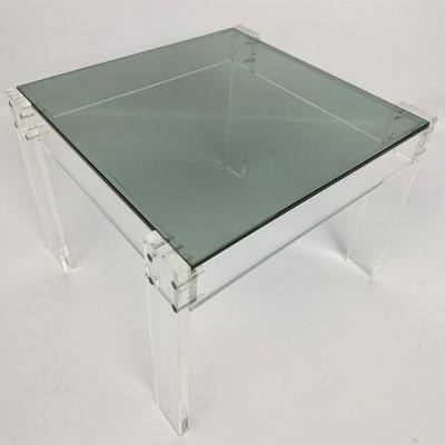 Small Roche Bobois side table in lucite acrylic with glass top, France 1980's