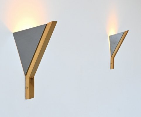 Romeo Rega triangle sconces in chrome & brass, Italy 1970