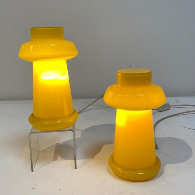 Pair of yellow Murano glass table lamps, 1970s