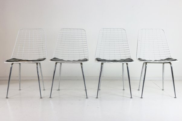 Set of four wire chairs by Cees Braakman & Adriaan Dekker for UMS Pastoe